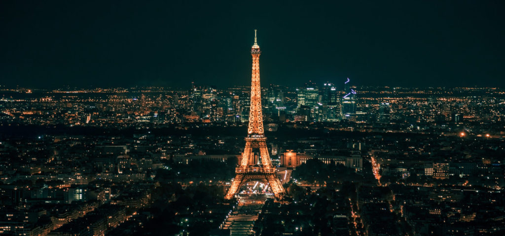 Eiffel Tower aerial view at night